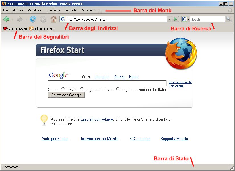 &direct | Mozilla Firefox 2 su Windows XP - Aspetto di default.